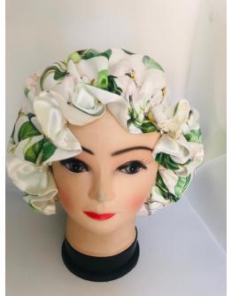 Floral and White Bonnet - Headgear for women